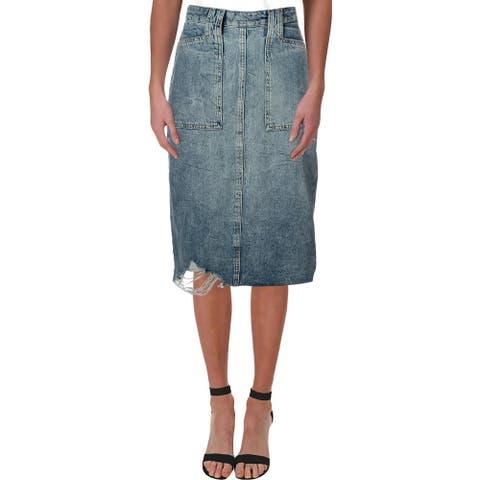 We The Free Womens Denim Skirt Denim Frayed Hem - River Blue