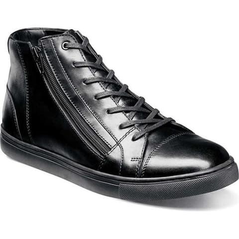 Stacy Adams Men's Wyn Cap-Toe High Top Sneaker Black Leather