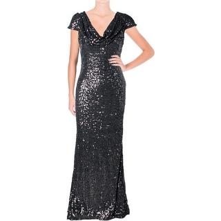 Badgley Mischka Womens Sequined Cap Sleeves Evening Dress