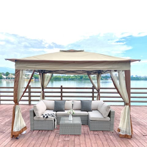 Outdoor 11x 11Ft Pop Up Gazebo Canopy With Removable Zipper Netting