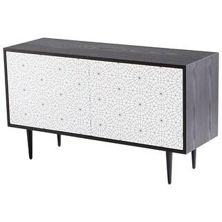 """Cyan Design 09890  Mayard 47-1/4"""" Wide 2 Door Iron and Wood Accent Cabinet - Black Veneer"""