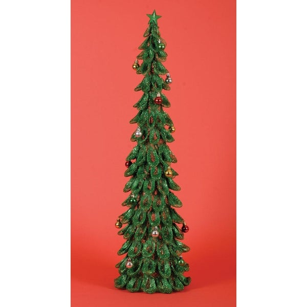 3' Lighted Pre-Decorated Looped Green Glitter Christmas Tree Decoration