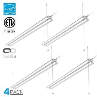 4 Pack 4ft Linkable LED Shop Light, 2-Tube T8 LED, 40W, 5000K