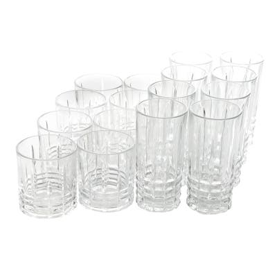 Gibson Home Jewelite 16 Piece Tumbler and Double Old Fashioned Glass Set