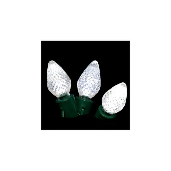 Christmas at Winterland S-25C7PW-8G 15 Foot String of Pure White C7 LED Lights with 8 Inch Spacing and Green Wire