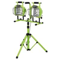 "Designers Edge L5502 27-1/2"" Tall 2-Light 1400 W Outdoor Work Light with Glass Guard and Telescoping Tripod - Green"