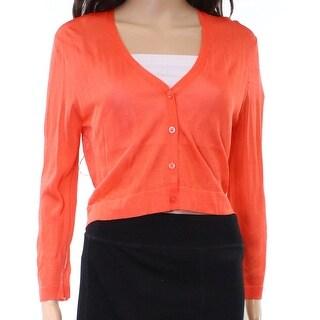 Lauren By Ralph Lauren NEW Orange Women Small S Crop Cardigan Sweater