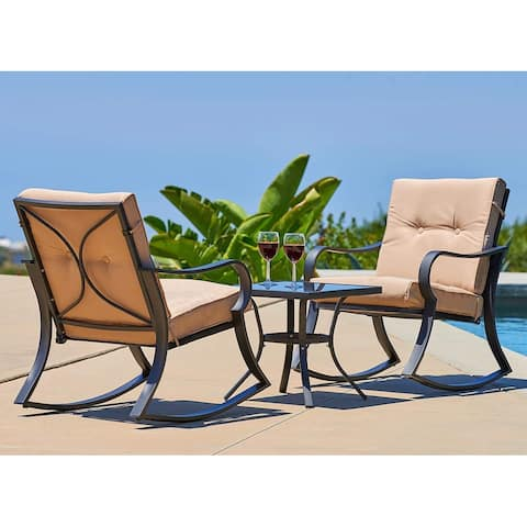 Solaura Outdoor 3-Piece Rocking Metal Bistro Set w/ Coffee Table