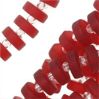 Cultured Sea Glass, Button Heishi Spacer Beads 9mm, 36 Pieces, Cherry Red