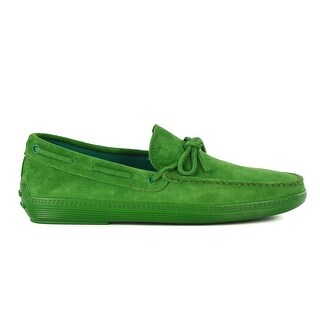 Tod's Men's Green Suede Green Sole Front Tie Moccasins
