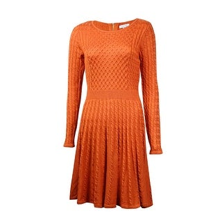 Calvin Klein Women's Fit & Flare Cable Knit Sweater Dress