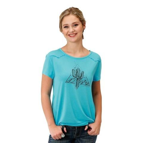 Roper Western Shirt Womens Short Sleeve Turquoise