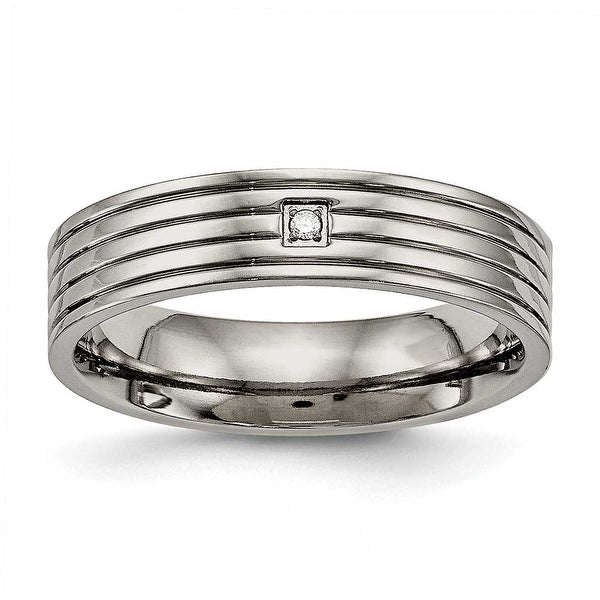 Titanium Polished Grooved Comfort Back CZ Ring (5 mm)