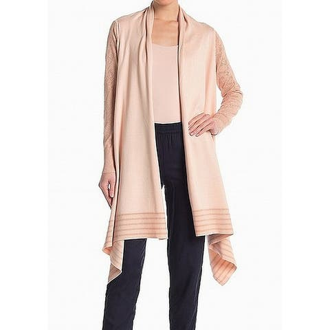 DKNY Pink Striped Women's Large L Draped Hi-Lo Cardigan Sweater