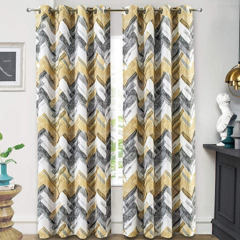 "DriftAway Herringbone Geometric Stripe Printed Pattern Blackout Window Curtain Grommet 2 Panels - 52"" width x 84 "" length"