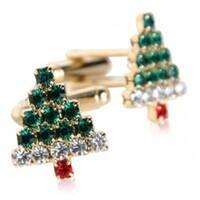 Crystal Christmas Tree Pine Tree Holiday Cuff Links