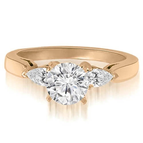 1.25 cttw. 14K Rose Gold Round And Pear Three-Stone Diamond Engagement Ring