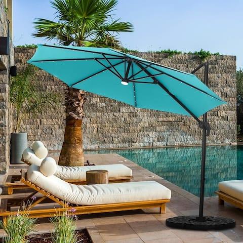 Ainfox Outdoor 10ft Solar Cantilever Offset Hanging Patio Umbrella