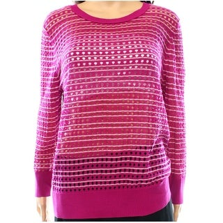 Caslon NEW Pink Womens Size XL Boat Neck Striped Open-Knit Pullover Sweater