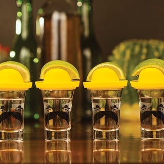 Thumbs Up Sombrero Topped Tequila Shot Glasses - Set of 4 with Lids Holds Salt and Lime Wedge - 3 in. x 3 in. x 3 in.