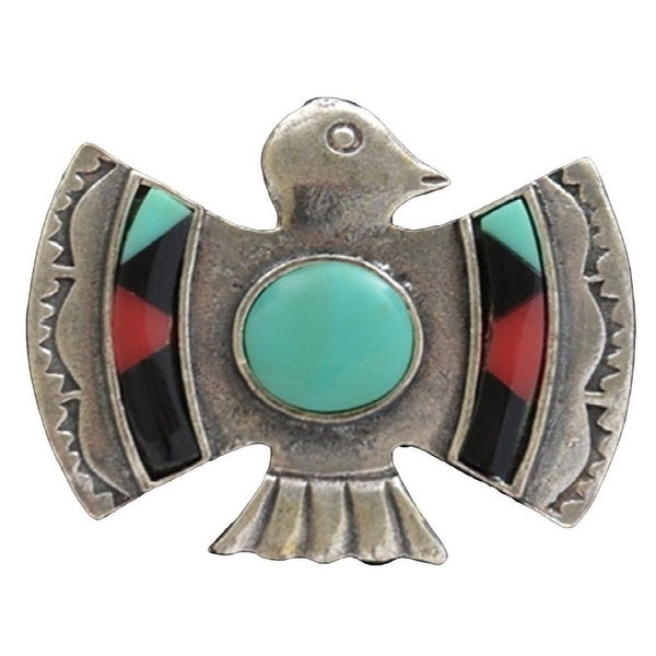 LoulaBelle Jewelry Womens Ring Thunderbird One Size Silver LR9046M - silver turquoise