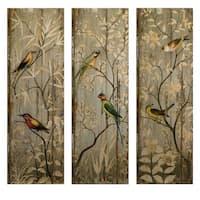 "Set of 3 Tranquil Botanical & Bird Wall Decor Panels 42"" - multi"