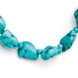 Chisel Dyed Howlite Turquoise Color Large & Small Stone Stretch Bracelet