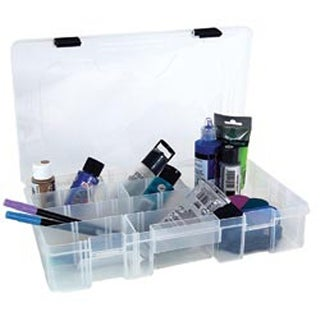 "14""X9.125""X2.8"" Clear Black Creative Options Latch Utility Box 6 Compartments"