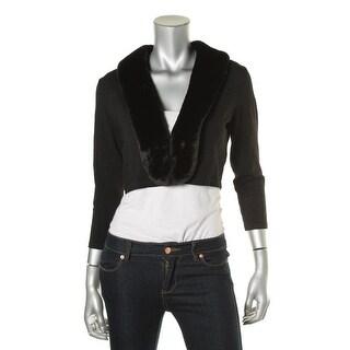 Lauren Ralph Lauren Womens Faux Fur Collar Open Front Shrug Sweater