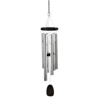 Classical Music Metal Wind Chimes - Pachelbel's Canon In D - Aluminum & Ash Wood - Black - 32 in.