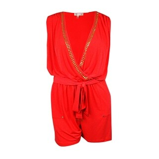 Spense Women's Belted Studded-Trim Jersey Romper