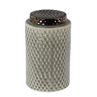 Privilege 73010 7.5 x 7.5 x 12 in. Large Lidded Vase, Grey