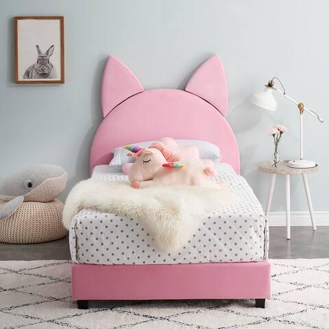 VECELO Wooden Cat Cute Twin Platform Bed Frame