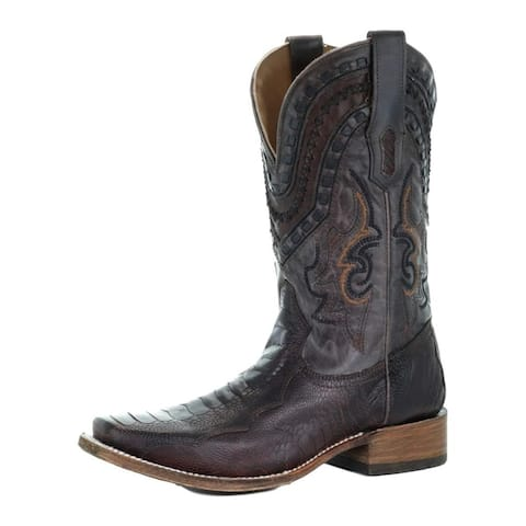 """Corral Western Boots Womens Aztec Embroidered Stud 15"""" Black"""