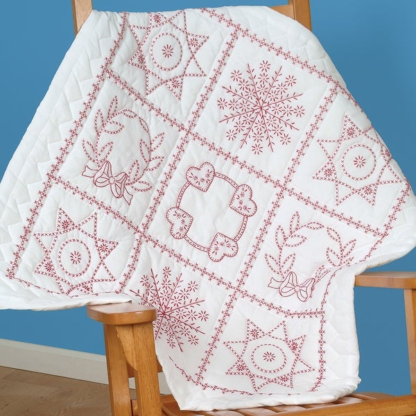"""Stamped White Wall Or Lap Quilt 36""""X36""""-Sampler"""