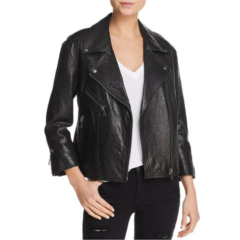 Joie Womens Viva La Femme Leather Jacket, black, Small