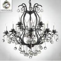 Swarovski Elements Crystal Trimmed Wrought Iron Crystal Chandelier Lighting With Faceted Crystal Balls