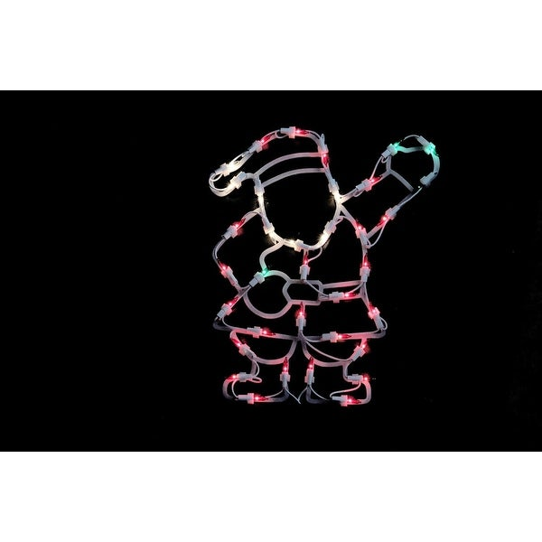 """13"""" Lighted Santa Christmas Double Sided Window Silhouette Decoration - green"""