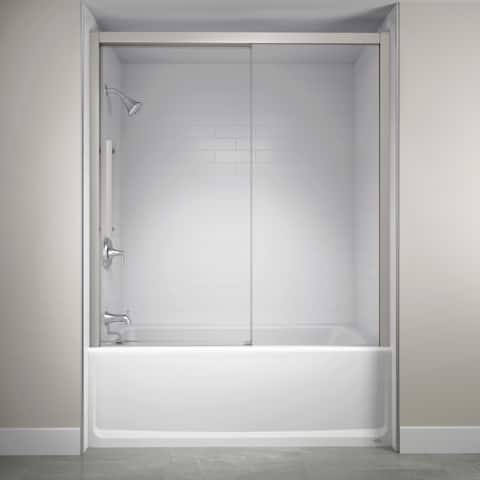 "Jacuzzi SD59 59"" High x 60"" Wide Sliding Semi-Frameless Tub Door with Clear Glass"