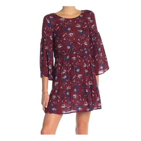 William Rast Red Womens Size Large L 3/4 Sleeve Floral-Print Shift Dress