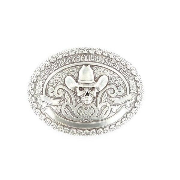 Crumrine Western Belt Buckle Oval Cowboy Skull Death Silver - 3 1/4 x 4 3/4