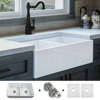 Luxury 33 inch Modern Fireclay Farmhouse Kitchen Sink, White, Double Bowl, Flat Front, includes Grid and Drain, by Fossil Blu
