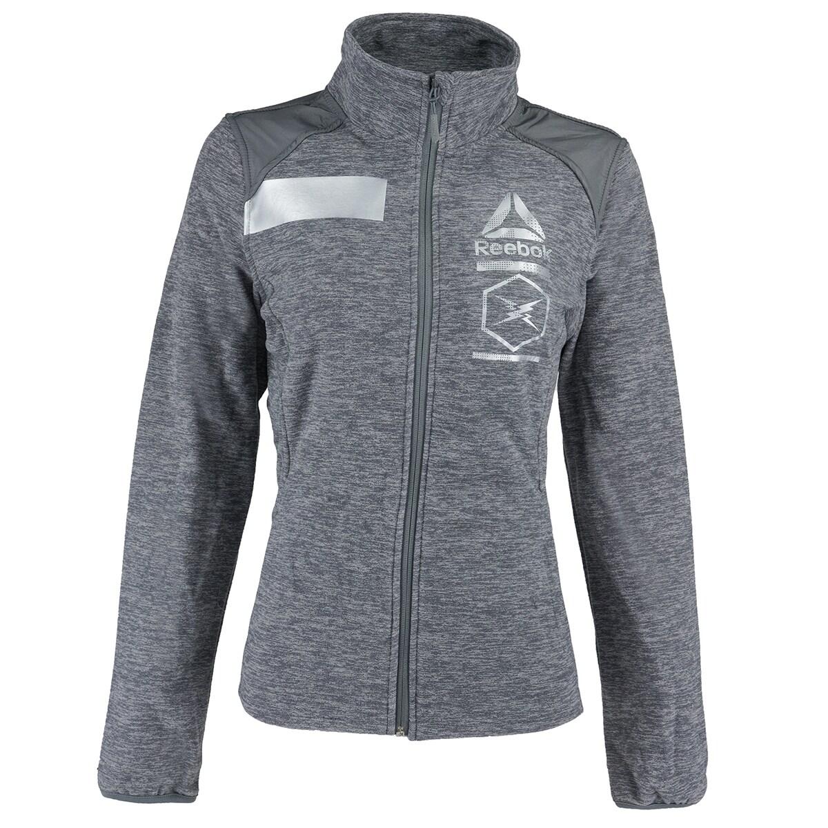 Reebok Women's Full Zip Polar Fleece Active Jacket Grey HeatherSilver M