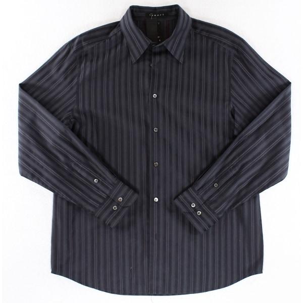 Theory NEW Deep Men's Black Size 2XL Striped Print Button Down Shirt