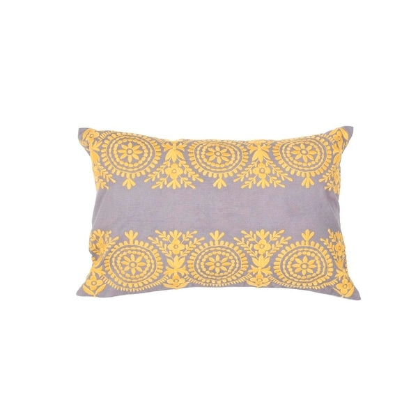 "20"" Wheat Gold and Metal Gray Floral Pattern Decorative ThrowPillow"