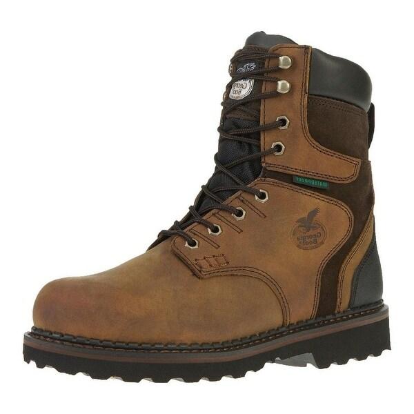 """Georgia Boot Work Mens 8"""" Brookville ST Waterproof Dark Brown"""