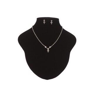 Girls Silver Tone Glitter Rhinestone Cross Necklace Earrings Jewelry Gift Set