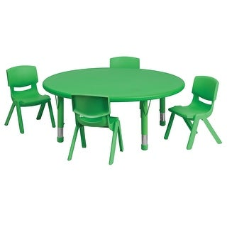 Offex 45'' Round Adjustable Green Plastic Activity Table Set with 4 School Stack Chairs