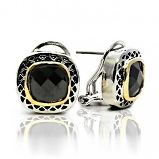 Bling Jewelry Black CZ Two Tone Square Cushion Omega Earrings Gold Plated Rhodium Plated Alloy