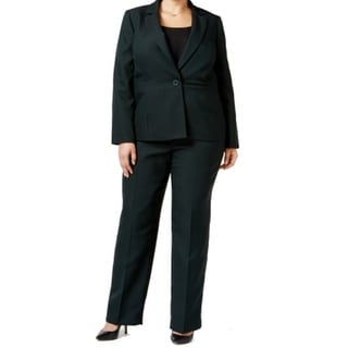 Le Suit NEW Green Women's 24W Plus Striped Notch Collar Pant Suit Set